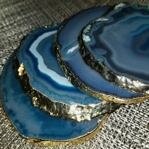 24K Gold-Plated THICK Agate Coasters ~ SO UNIQUE!
